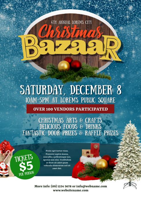 christmas bazaar flyer template postermywall