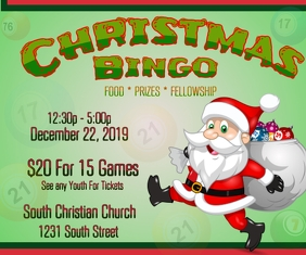 Christmas Bingo game night fundraiser Rectángulo Grande template