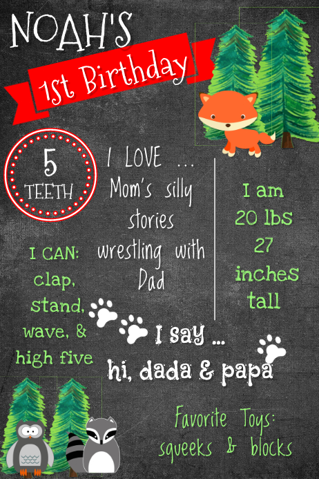 Forest Birthday Brag Poster
