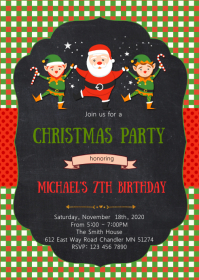 Christmas birthday party invitation