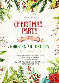 Christmas birthday party invitation A6 template