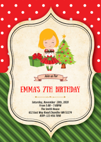 Christmas birthday party invitation A6 template