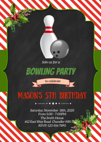 Christmas Bowling birthday party invitation