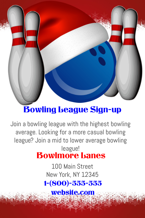 christmas bowling league template postermywall