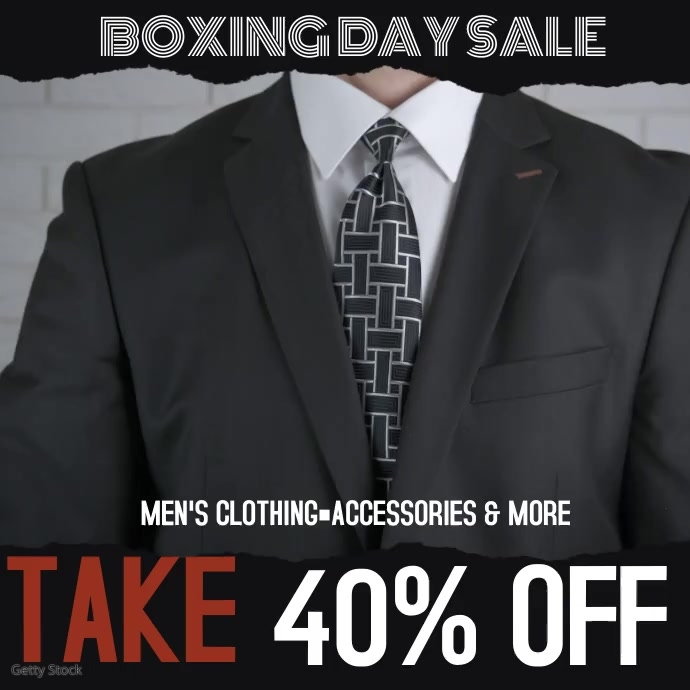 Christmas Boxing Day Sale Mens Clothing Video Instagram Post template