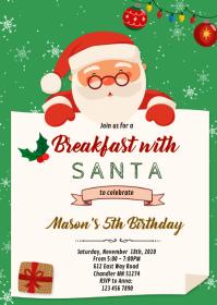 Christmas breakfast with santa invitation
