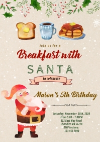 Christmas breakfast with santa invitation A6 template