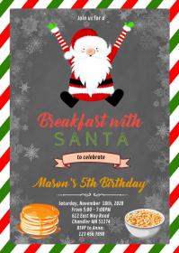 Christmas breakfast with santa invitation A6 template