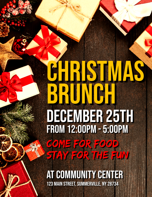 Christmas Brunch Flyer Template PosterMyWall