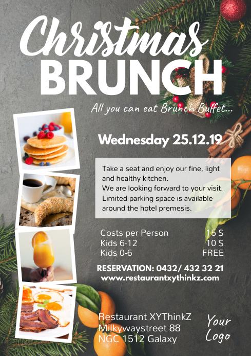 Christmas Brunch Restaurant Lunch Dinner Menu A4 template