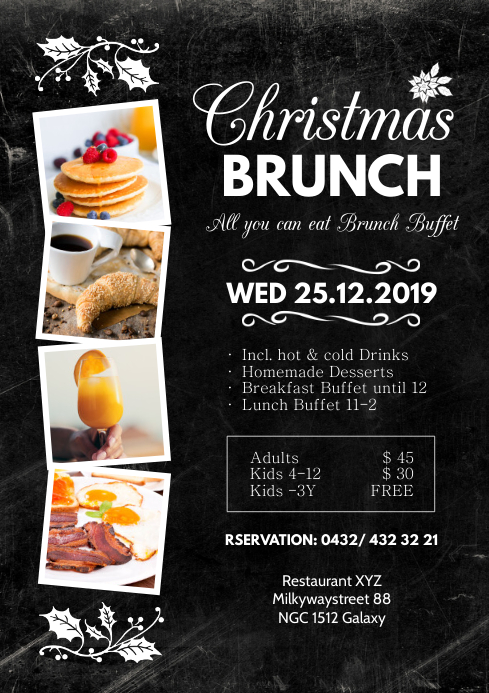 Christmas Brunch Restaurant Lunch Dinner Menu