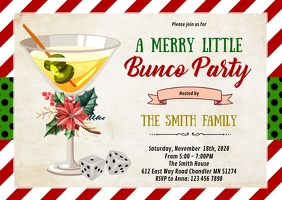 Christmas bunco party invitation