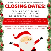 CHRISTMAS BUSINESS CLOSING DATES DESIGN template