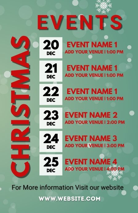 Christmas calendar, Christmas events,calendar Tabloïd template