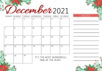 CHRISTMAS Calendar monthly planning Template A4