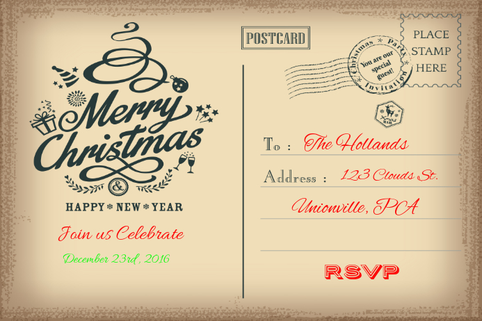 Christmas Card Poster template