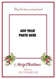 Christmas Card - Simple Crimson A6 template