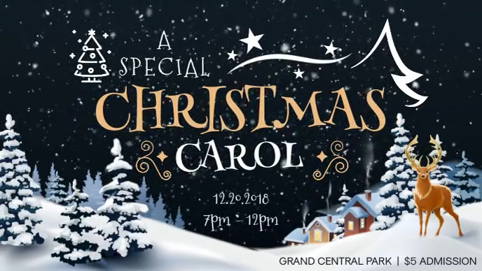 Christmas Carol Invitation Facebook Cover Video Facebook-omslagvideo (16:9) template
