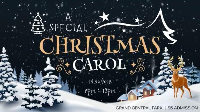Christmas Carol Invitation Facebook Cover Video Ikhava Yevidiyo ye-Facebook (16:9) template