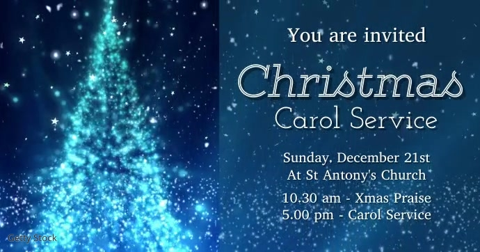 Christmas Carol invite Ibinahaging Larawan sa Facebook template