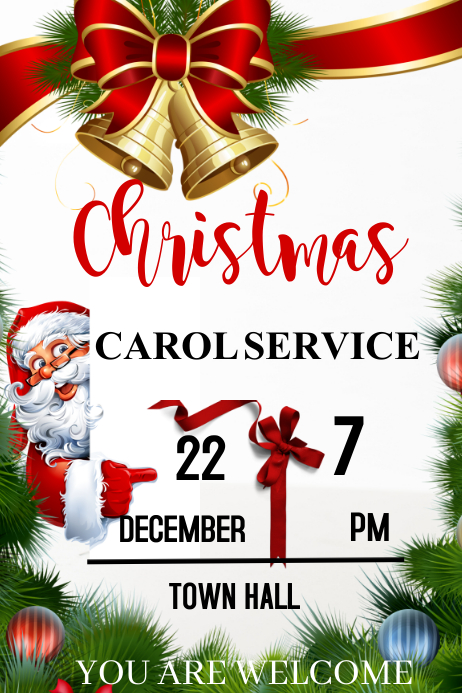 Christmas Carol Service Poster template