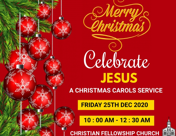 CHRISTMAS CAROL SERVICE Pamflet (Letter AS) template