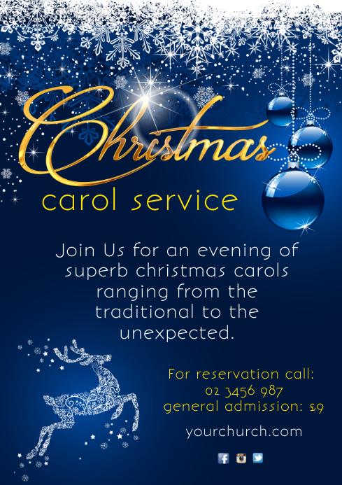 Christmas Carol Service Poster A4 template