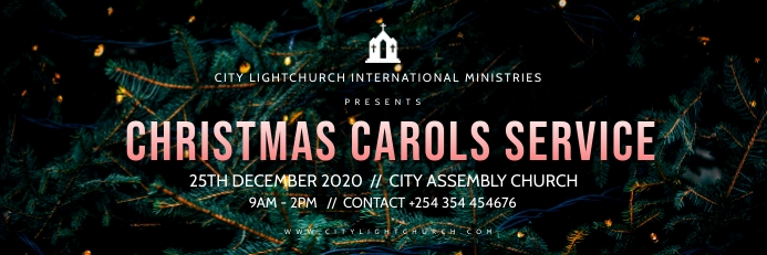 christmas carols church flyer Spanduk 2' × 6' template