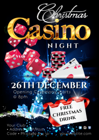 Christmas Casino Night Poster A2 template