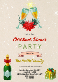 Christmas champagne invitation A6 template