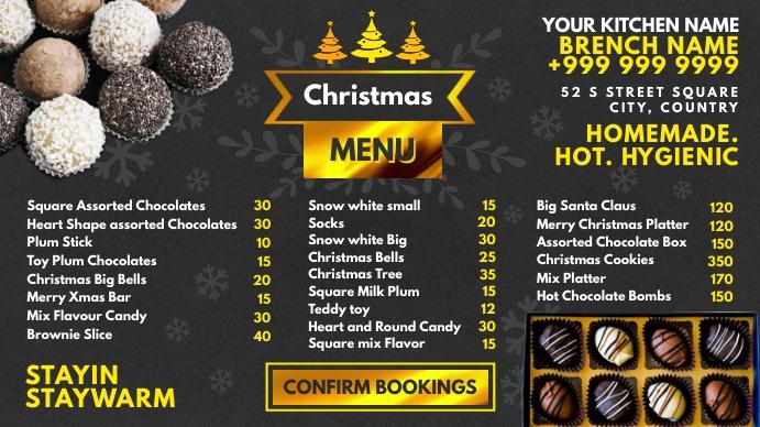 Christmas Chocolate Menu 2020 Template Prezentacja (16:9)