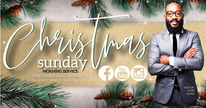 CHRISTMAS Church Event Flyer Template Facebook Shared Image