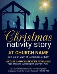 christmas church service, christmas, church Pamflet (Letter AS) template