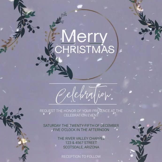 christmas church service ad template 方形(1:1)