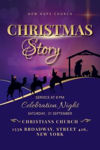 Christmas Church Service Flyer Banner 4 x 6 fod template