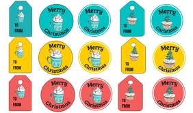 Christmas Cocoa Cupcakes Tags Merker template