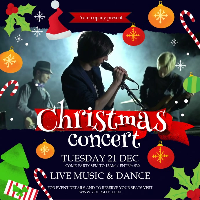 Christmas Concert Invitation Square Video