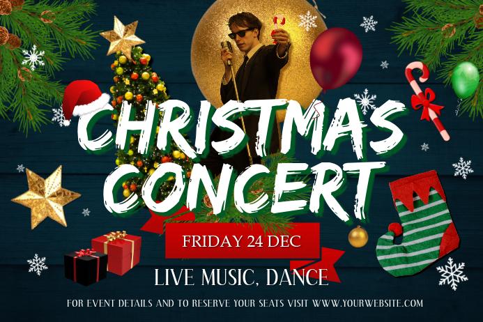 Christmas Concert Landscape Poster template