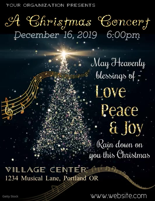 Christmas Concert Video Flyer Pamflet (Letter AS) template