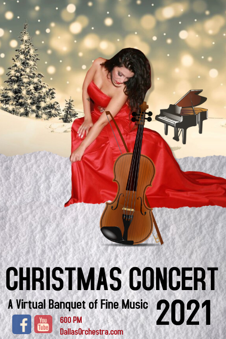 christmas concert/virtual/orchestra/music Banner 4 x 6 fod template