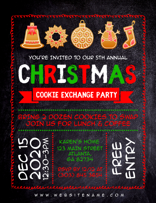 Christmas Cookie Exchange Party Flyer Template Postermywall
