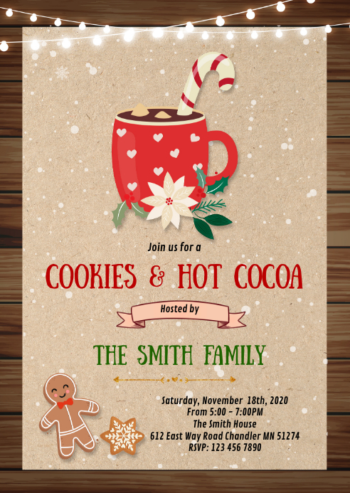Christmas cookies cocoa invitation A6 template