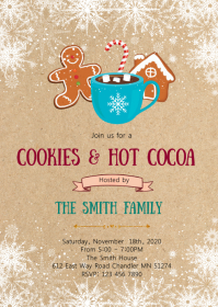 Christmas cookies cocoa invitation
