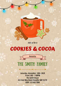 Christmas cookies cocoa invitation