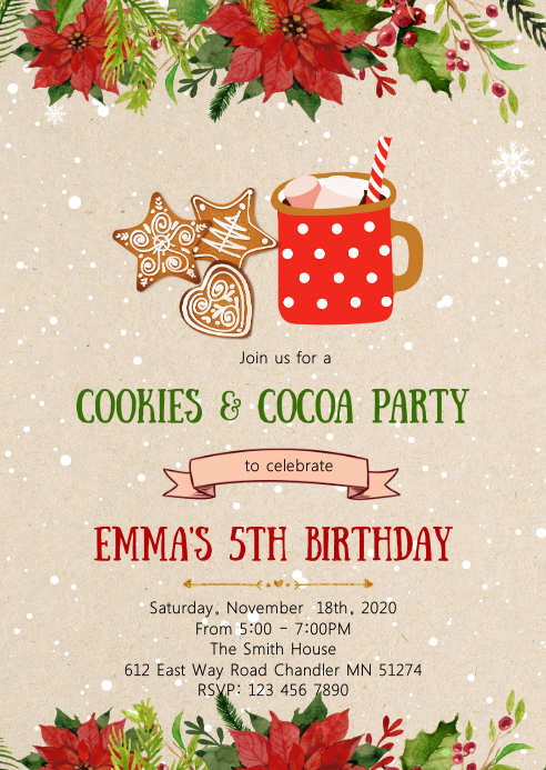 Christmas cookies cocoa party invitation
