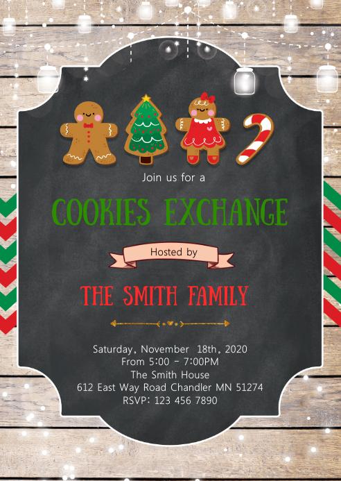 Christmas cookies exchange invitation