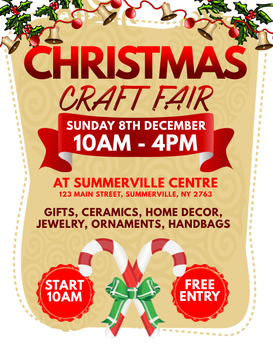Christmas Craft Fair Flyer Template Postermywall