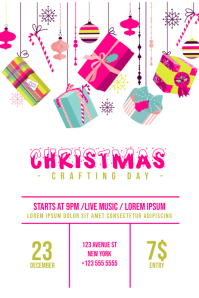 Christmas Crafting Day Flyer Template Colorful