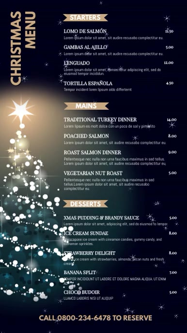 Christmas Digital Menu Design