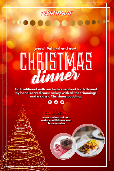 Christmas Restaurant Poster.Christmas Dinner Template Postermywall